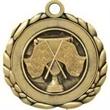 "2 1/2"" Antique Gold QCM Medal CROSS FLAG"