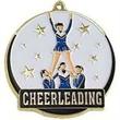 "2"" High Tech Medallion CHEERLEADER in Gold"