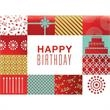"""Patchwork Birthday Card - New greeting card with """"Happy Birthday"""" on the front with patchwork pattern."""