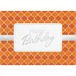 """Orange & Silver Pattern Card - New greeting card with """"Happy Birthday"""" on the front."""