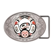 "Express Vibraprint Oval Belt Buckle Medallion - Oval-shaped belt buckle medal with silver finish, 2 1/2"" x 3 3/4"""