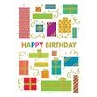 """Boxed Gifts Greeting Card - New boxed gifts greeting card with """"Happy Birthday!"""" multi-colored presents on the front"""