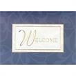 """Welcome Greeting Card - New greeting card with gold foil embossed """"Welcome"""" on white stock with blue design."""