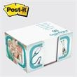 """Post-it(R) Full Cube in a BOX - Full Cube in a box, holds Post-it Note cube 3x4"""", 4 color box with 4 designs, blank white sheets"""