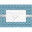 Thinking Of You Greeting Card - New greeting card with turquoise Thinking of You design on white stock with silver foil stamping.