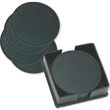 The Coaster Box Set - Set of 4 black top-grain leather coasters with felt back. Packaged in a top-grain leather case for easy storage. Imported.