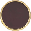 """Brass and Leather Coaster - Customizable brass gold-tone metal coaster with cowhide leather insert and cork bottom. Round-shape, measures 3 7/8"""" in diameter."""
