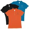 Ladies Polo Shirt - New 100% breathable cotton comfort polo shirt with reinforced shoulder seams, double needle hemmed bottom, and 4 button placket