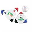 "Triple Golf Ball Marker - 3 5/8"" x 3 5/8"" x 3 5/8"" Triple golf ball marker with white body and red, blue and black marker colors."