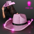 Pink Sequin Cowboy Hats with Pink LED Brim - 1