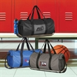Long Haul Structured Duffel Bag - Polyester duffel bag with vinyl pocket, mesh carry handles, adjustable shoulder strap, inside pocket and more.