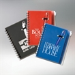 All In One Eco Jotter W/Pen - Journal with jotter pad that contains 50 lined sheets of paper, pen, zip pouch on back, set of sticky notes and flag sticky notes.