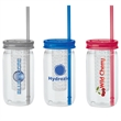 """Mason Jar Tumbler with Infuser - 3"""" x 9"""" x 3"""" PETG and polypropylene 20-ounce Mason jar tumbler with flavor infuser, lid and straw. BPA free."""