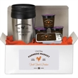 "Coffee Lovers Kit B - 9"" x 4"" x 4"" coffee lovers gift box with 16 ounce stainless steel tumbler, fresh ground coffee and tin of sugar free mints."