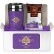 """Coffee Lovers Kit 3 - 9"""" x 4"""" x 4"""" coffee lovers gift box with 3 1/4"""" x 7 1/4"""" 16-ounce tumbler, fresh ground coffee and tin of sugar free mints."""