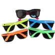 Sunglasses - Children's rubber frame sunglasses with black front and neon colored arms.