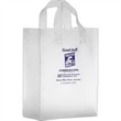 """Clear Frosted Soft Loop Shopper Bag w/ Insert - Foil Stamp - Clear Frosted Soft Loop Plastic Shopping Bags with Insert (10""""x5""""x13"""") - Foil Stamp"""