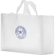 """Clear Frosted Soft Loop Shopper Bag w/ Insert - Foil Stamp - Clear Frosted Soft Loop Plastic Shopping Bags with Insert  (16""""x6""""x12"""") - Foil Stamp"""