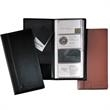 Leeman New York Greenwich Business Card File-Large - Cowhide leather business card file organizer with vinyl pockets.