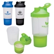 16 oz. Fitness Shaker Cup - Fitness shaker cup holds 16 ounces in the top compartment and 1/2 cup of your favorite supplement in the bottom compartment.
