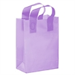 """Color Frosted Soft Loop Shopper Bag with Insert - Foil Stamp - Color Frosted Soft Loop Plastic Shopping Bags with Insert (8""""x4""""x11"""") - Foil Stamp"""