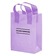 """Color Frosted Soft Loop Shopper Bag w/ Insert - Foil Stamp - Color Frosted Soft Loop Plastic Shopping Bags with Insert (10""""x5""""x13"""") - Foil Stamp"""