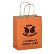 """Halloween Matte Shopper/Orange Pumpkins - Flexo Ink - Halloween Stock Design Matte Orange Paper Shopping Bag with Pumpkins - Customized (8""""x4 3/4""""x10 1/2"""") - Flexo Ink"""
