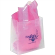 """Frosted Clear Shopping Bag - 16"""" x 12"""" frosted clear flexi-loop handle bag with side gusset and cardboard reinforced bottom."""
