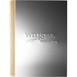 """UrbanJournal (TM) Large  - 7"""" x 10"""" large refillable journal with silver aluminum front cover and leather wraparound back cover and spine."""