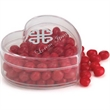 Heart Shaped Plastic Container - Clear heart-shaped plastic candy container is a sweet treat.