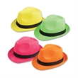 Neon Fedoras - Neon colored fedoras in assorted packs.