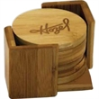 """6 Piece Round Bamboo Coaster Set - 6 Piece Round Bamboo Coaster Set.   Size:  3 3/4"""" (Each Coaster)."""