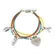 Multi Colored Leather Cord Bracelet W/Charms - Multi Colored Leather Cord Charm Bracelet