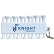 Fore! Tee Set - White with silver chain, that includes 12 plastic tees