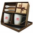 Barista - 6 Piece Coffee Set - 6 piece coffee set. Two 8 oz mugs, 2 wooden coasters, 2 spoons in kraft gift box.