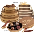 Chocolate Filled 3-Tier Oval Tower - Oval bronze 3 tier tower of premium Belgian chocolate truffles.