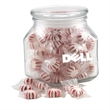 Starlight Peppermints in a Large Glass Jar with Lid - Starlight Peppermints in a Large Footed Square Glass Jar with Lid