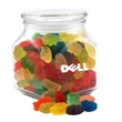 Gummy Bears in a Large Glass Jar with Lid - Gummy Bears in a Large Footed Square Glass Jar with Lid
