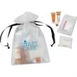 Economy New Mommy amenity kit - Drawstring EVA bag with lip balm, shampoo, lotion and soap.