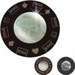 Round Coaster Set - Round engraveable coaster set. Black coasters with shiny silver emblem.