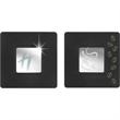 Square Coaster Set - Square engraveable coaster set. Black coasters with shiny silver emblem.