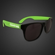 Neon Look Sunglasses With Green Arms - Plastic sunglasses with black frames and neon green arms.