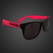 Neon Look Sunglasses With Red Arms - Plastic sunglasses with black frames and neon red arms.