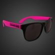 Neon Look Sunglasses With Pink Arms - Plastic sunglasses with black frames and neon pink arms.
