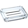 "Faceted Rectangle Soap Dish - Acrylic faceted rectangle soap dish, 4 7/8"" x 3 1/2"" x 1 1/8"" h."