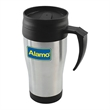 16 oz. Double Wall Insulated Mug - 16 oz. double wall insulated mug. Has a thumb rest handle with screw on lid.
