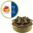 "Grand Tin with Dog Bones - Dog bones treats, snacks, or biscuits for your pet in a round gold tin. Great pet item value.  Overall size: 1 13/16"" x 6 11/16""."