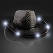 Black Sequin Cowboy Hat - Black sequin cowboy hat with white LED brim. Blank Stock