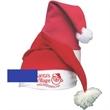 Import Yarn Santa cap - Red and white acrylic felt Santa hat with white yarn ball on top.