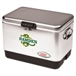"Coleman® 54 Quart Steel Belted Cooler - Stainless Steel - 26"" x 18"" x 17"" cooler with rubber-gripped handles, durable base, lid and liner and drain from Coleman®"
